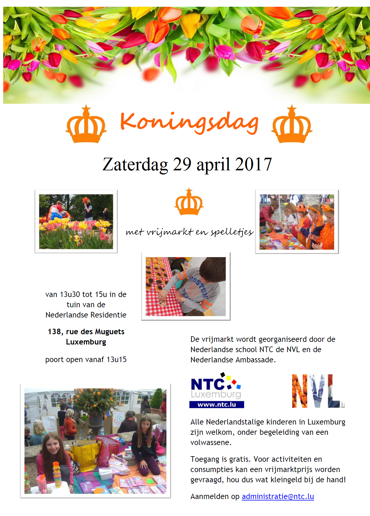 Uitnodiging Vrijmarkt Koningsdag 29 april 2017