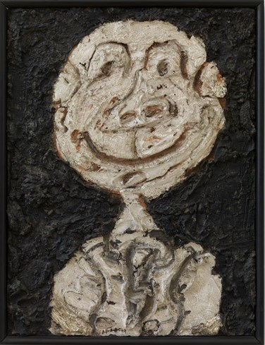 Jean Dubuffet: Personnage hilare (Portrait de Francis Ponge), 1947, olieverf op gips op karton, 60,5 x 45,5 cm, collectie Stedelijk Museum Amsterdam, schenking van de kunstenaar