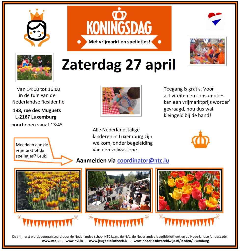 Flyer Koningsdag vrijmarkt 2019